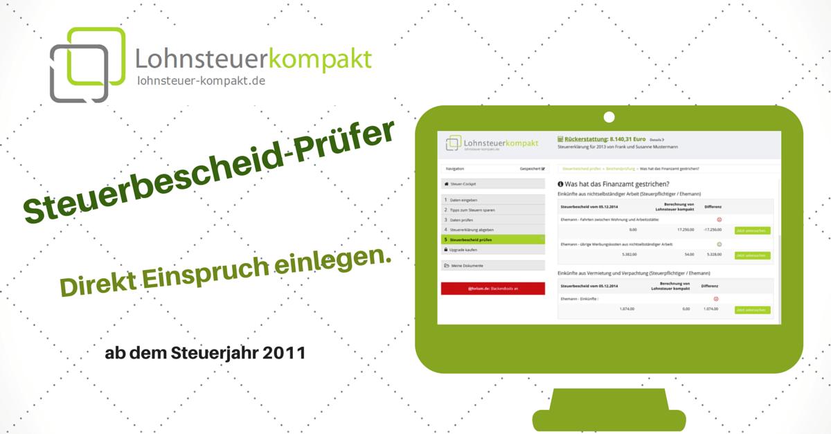 Lohnsteuer kompakt erste Online-Steuersoftware mit Bescheidprüfung