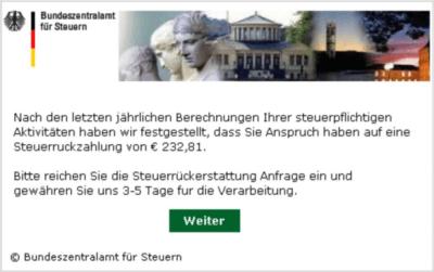 Betrüger versenden E-Mails im Namen des Bundeszentralamts für Steuern