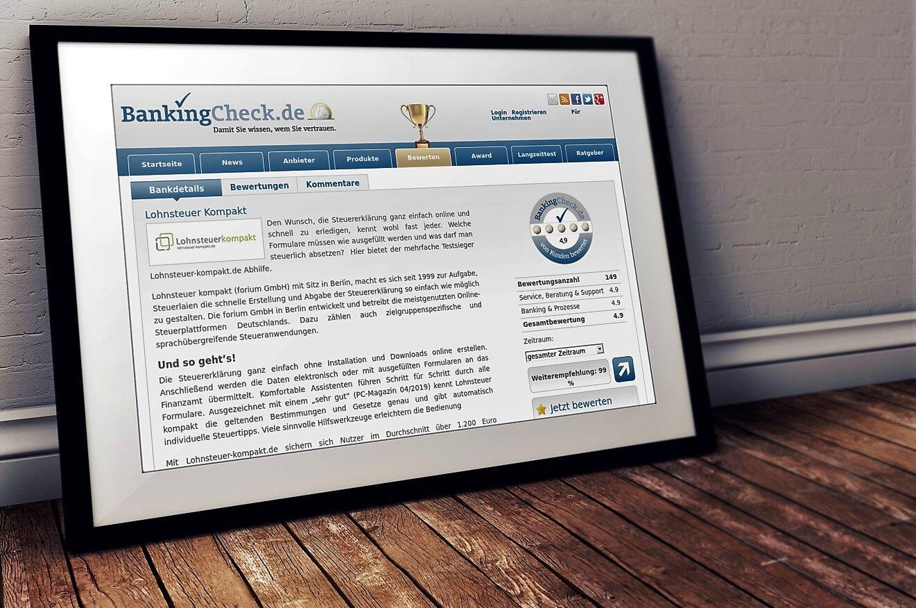 """Lohnsteuer-kompakt.de ist """"Bester digitaler Steuerberater"""""""